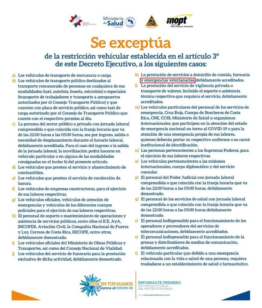 Excepciones a Restricción Vehicular de Cuarentena
